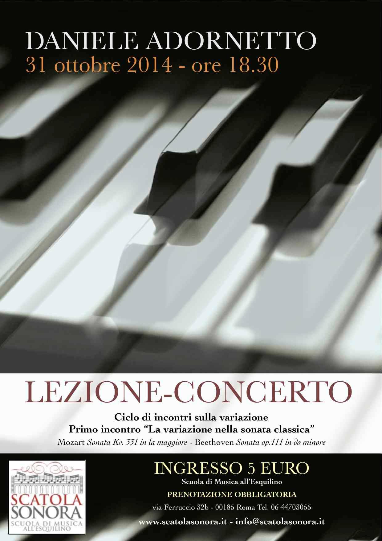 """Lezione Concerto –  Primo incontro """"La variazione nella sonata classica"""""""