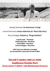 Concerto 11 ottobre 2018 – Bernstein e Gershwin per due pf. e percussioni