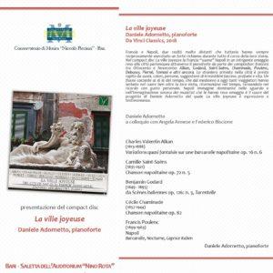 Presentazione cd La Ville Joyeuse a Bari, 19 marzo 2019